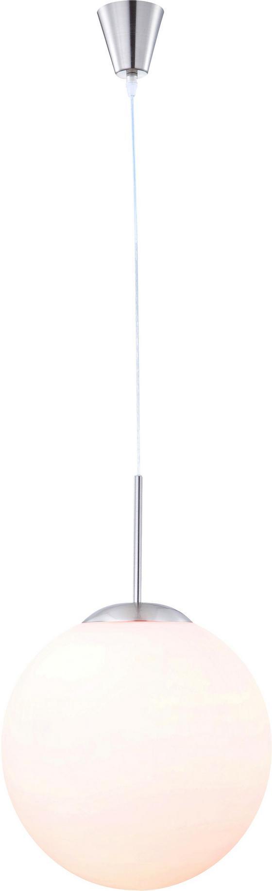 Hängeleuchte Uwe - Opal/Nickelfarben, MODERN, Glas/Metall (29/180cm)