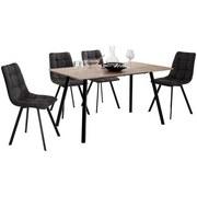 Tischgruppe Lech - Eichefarben/Schwarz, MODERN, Holzwerkstoff/Textil (140/59/75/88/80/48,5cm)