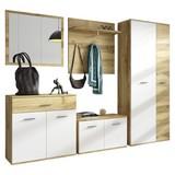 Garderobe Irys - Eichefarben/Weiß, Basics, Glas/Holzwerkstoff (240/190/35cm) - P & B