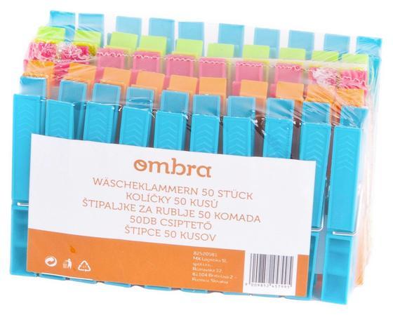 Wäscheklammern 50er Packung - Blau/Orange, KONVENTIONELL, Kunststoff/Metall - Ombra