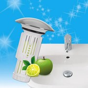 Abfluss-Fee für Waschbecken mit Duftstein Zitrone/Apfel - Silberfarben/Weiß, Basics, Kunststoff (6,6/8,5cm) - TV - Unser Original