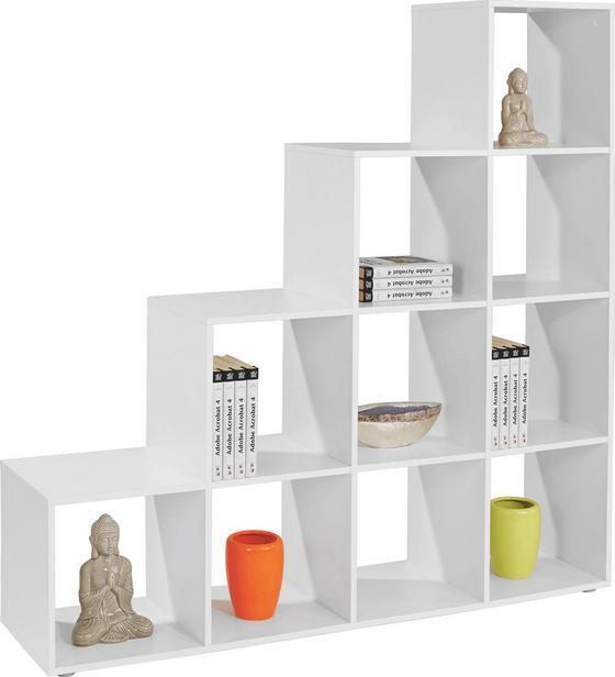 Polc Pisa - fehér, modern, faanyagok (149/150/35cm)