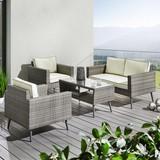 Záhradná Súprava Carina - sivá/biela, Moderný, umelá hmota/kov - Modern Living