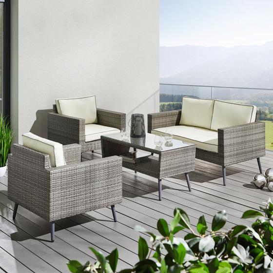 Záhradní Souprava Carina - bílá/šedá, Moderní, kov/textil - Modern Living