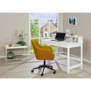 Schreibtisch Massiv B 110cm H 76cm Hilda, Weiß - Weiß, Basics, Holz/Holzwerkstoff (110/76-91/69cm) - Livetastic