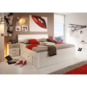 Bett inkl. Laden + Led 180x200 Mars, Weiß - Weiß, MODERN, Holzwerkstoff (180/200cm)