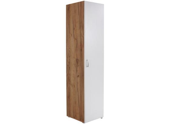 Skriňa Tio - farby dubu/biela, Moderný, kompozitné drevo (45/183/37,5cm)