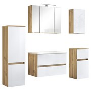 Badmöbel-Set 5-Tlg. inkl. Led Helsinki, Weiß/Eiche - Eichefarben/Weiß, KONVENTIONELL, Glas/Holzwerkstoff (160/200/47cm) - MID.YOU