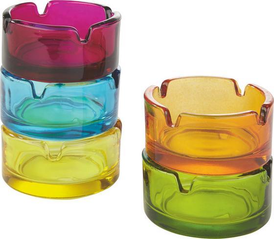 Aschenbecher Fin - Blau/Pink, KONVENTIONELL, Glas (7/3,6cm)