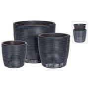 Übertopf-Set 3-Tlg. Schwarz - Schwarz, Basics, Kunststoff (23/25cm)