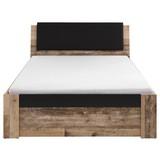 Bett mit Gepolstertem Kopfteil 140x200 Merlin, Old Style - Fichtefarben/Anthrazit, Basics, Holzwerkstoff/Textil (140/200cm) - Carryhome