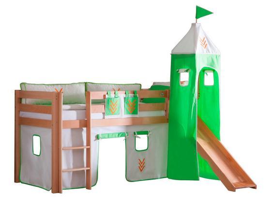 Spielbett Alex 90x200 cm Buche - Naturfarben/Orange, Design, Holz/Textil (90/200cm) - Bessagi Kids