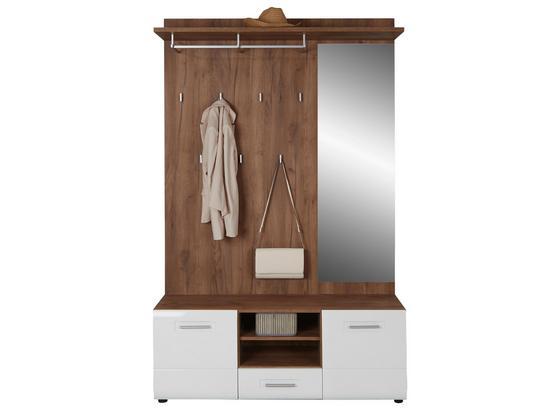 Šatna Avensis - bílá/barvy dubu, Moderní, kompozitní dřevo (130,1/200,4/35,2cm) - Luca Bessoni