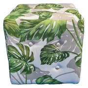 Taburet Wood - bílá/zelená, Konvenční, textil (40/40/40cm)