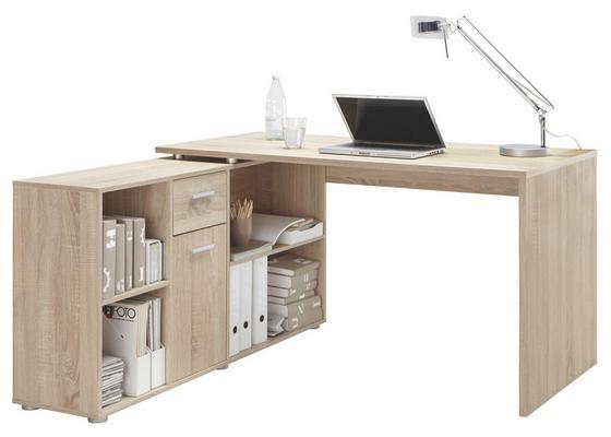 Psací Stůl S Regálem Lex - barvy dubu, Moderní, kompozitní dřevo (136/75/68cm)