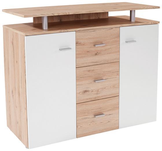 Kommode B:120cm San Remo/ Weiß Dekor - Eichefarben/Erlefarben, MODERN, Holzwerkstoff (120/92,3/40cm)