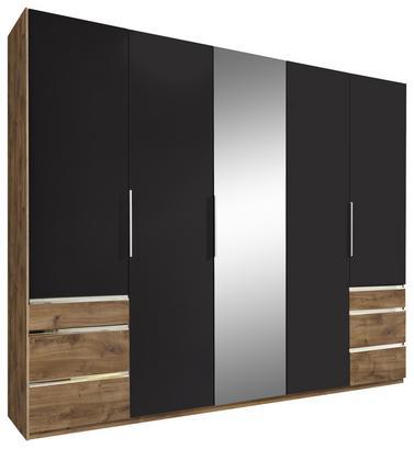 Fünftüriger Schrank in Graphit und Eiche Dekor mit Schubladen und Spiegel