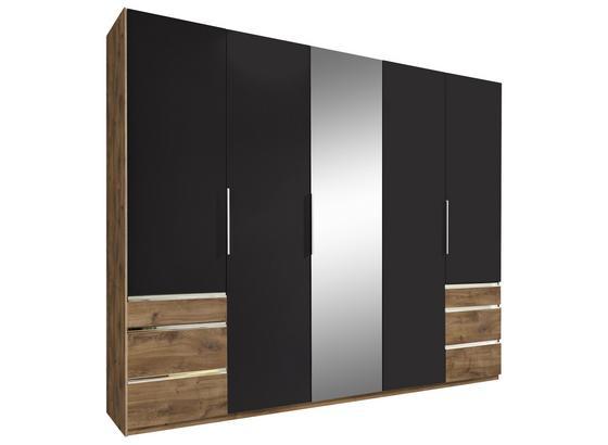 Drehtürenschrank mit Spiegel 250cm Level 36a, Graphit Dekor - Eichefarben/Graphitfarben, MODERN, Glas/Holzwerkstoff (250/216/58cm)
