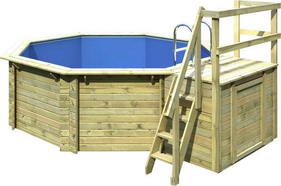 Holzpool Set Summer S Ø 400 X H 124 cm mit Sonnendeck - Naturfarben, KONVENTIONELL, Holz (400/124/400cm) - Karibu