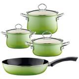 Kochtopfset Smaragd 4-Er Set Grün - Grün, Basics, Glas/Metall (48,5/28,5/24cm) - Riess