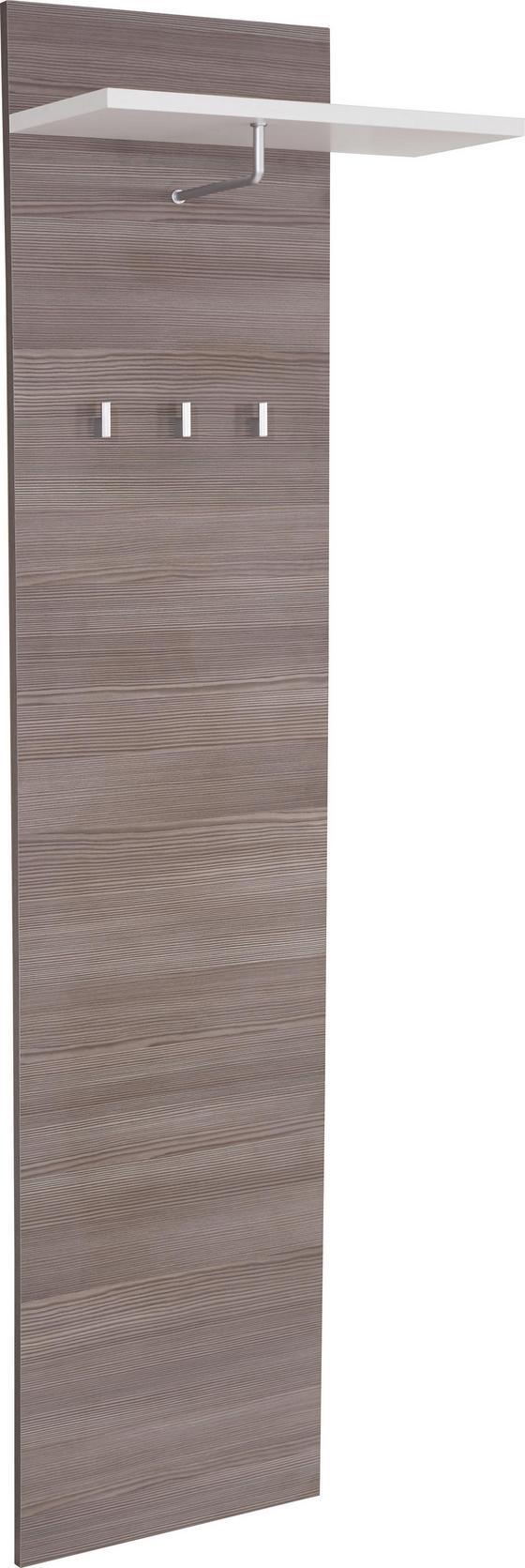 Šatní Panel Monza - bílá/tmavě hnědá, Moderní, dřevěný materiál (55/194/22cm)
