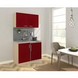 Miniküche B: 100 cm Rot/Eiche - Edelstahlfarben/Eichefarben, MODERN, Holzwerkstoff/Metall (100/87/60cm) - MID.YOU
