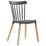 Stuhl Bert B: 43 cm Grau - Naturfarben/Grau, MODERN, Holz/Kunststoff (43/84/49cm) - Ombra