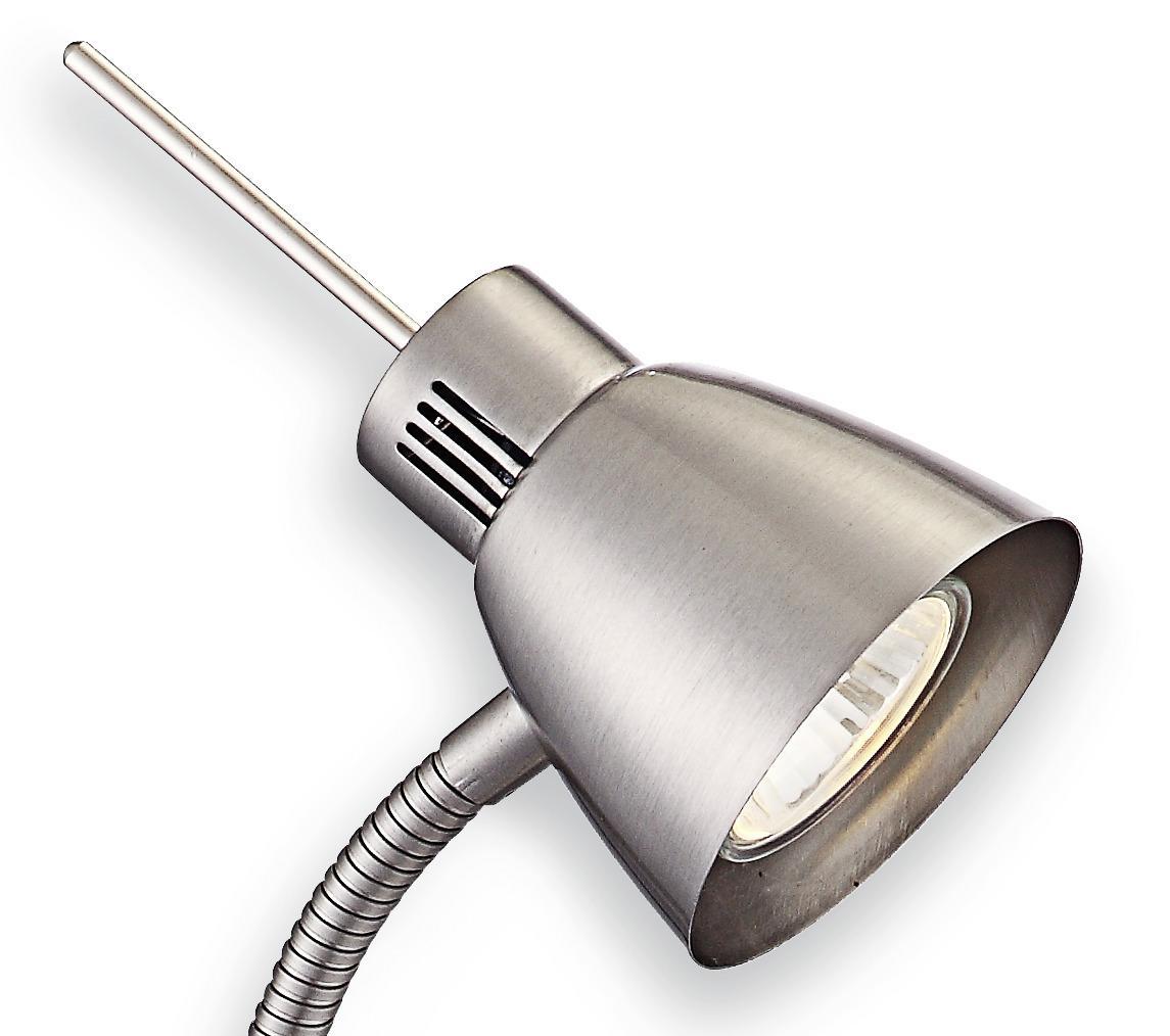 Led Schreibtischlampe Baldo - Detailansicht Kopf, Metall in Nickel/ Matt
