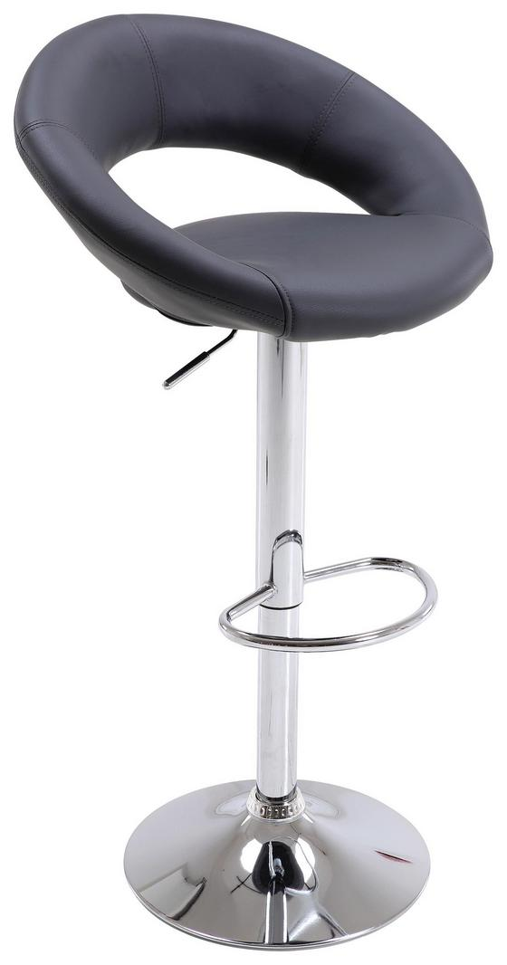 Barová Stolička Scott - sivá/farby chrómu, Moderný, umelá hmota/kov (56/82-103/50cm)