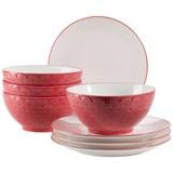 Desserttellerset Telde 8-teilig, Rot - Rot, Basics, Keramik