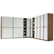 Eckkleiderschrank Essensa 359x294 cm Eichefarben - Eichefarben/Weiß, Design, Glas/Holzwerkstoff (359/294cm) - Livetastic