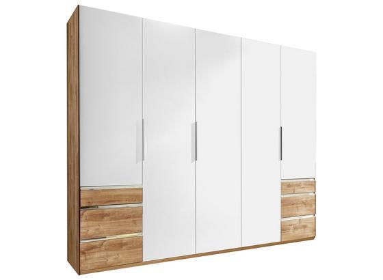 Drehtürenschrank mit Laden 250cm Level 36a, Weiß/Eiche - Eichefarben/Weiß, MODERN, Holzwerkstoff (250/216/58cm)