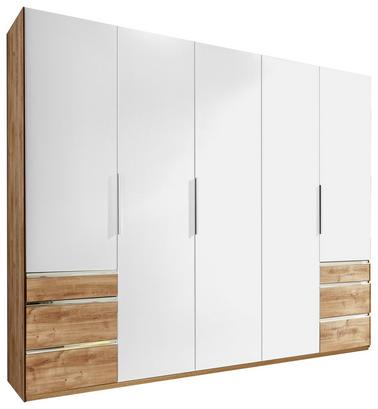 Fünftüriger Schrank in Weiß und Eiche Dekor mit Schubladen
