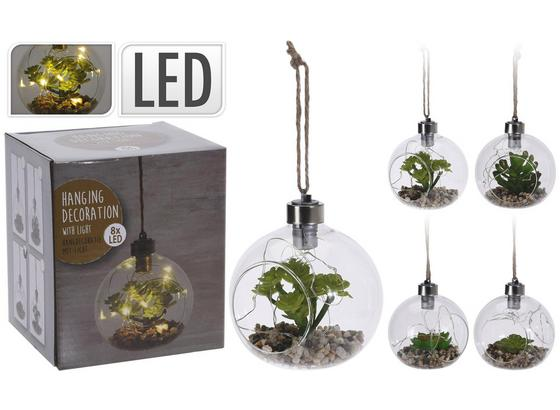 Dekopflanze Kerstin - Klar/Greige, LIFESTYLE, Glas/Kunststoff (11/12cm)