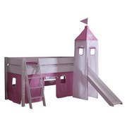 Spielbett Kim 90x200 cm Buche Massiv - Rosa/Weiß, Design, Holz (90/200cm)