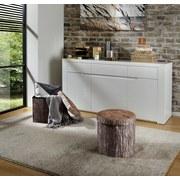 Sitzbox Woody Ø 40cm Holzoptik - Sandfarben/Braun, MODERN, Holzwerkstoff/Textil (40/37cm)
