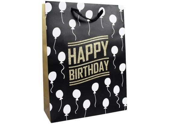 Geschenktasche Golden Birthday L - Goldfarben/Schwarz, MODERN, Karton (40/30/12cm)
