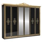 Drehtürenschrank mit Spiegel 281,4cm Eliza, Schwarz/Gold - Goldfarben/Schwarz, LIFESTYLE, Glas/Holzwerkstoff (282/232/60cm) - MID.YOU