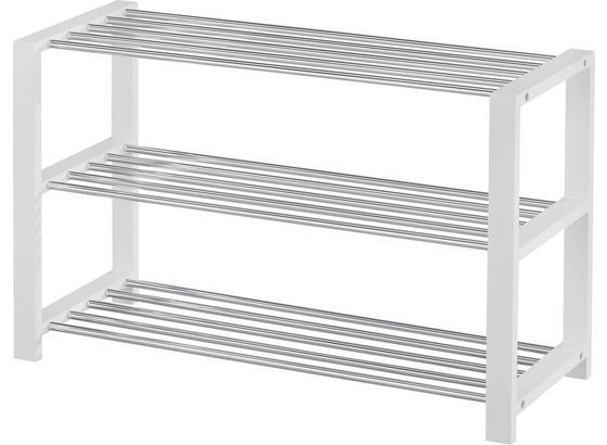 Regál Na Topánky Mariella - 3w - biela/chrómová, Moderný, kov/kompozitné drevo (80/50/30cm)