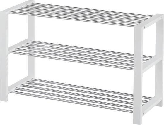 Schuhregal Mariella - Chromfarben/Weiß, MODERN, Holzwerkstoff/Metall (80/50/30cm)