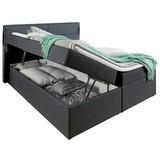 Boxspringbett mit Topper & Bettkasten 195x220cm, Mercura - Graphitfarben, MODERN, Leder/Holzwerkstoff (180/200cm) - MID.YOU