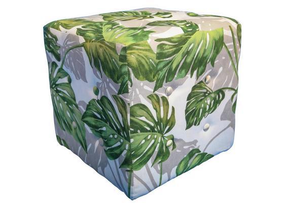 Sitzwürfel Wood 40x40 cm - Weiß/Grün, KONVENTIONELL, Textil (40/40/40cm)