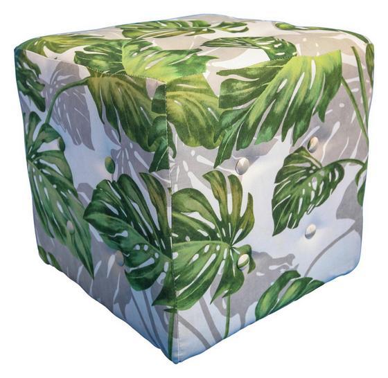 Taburet Wood - biela/zelená, Konvenčný, textil (40/40/40cm)