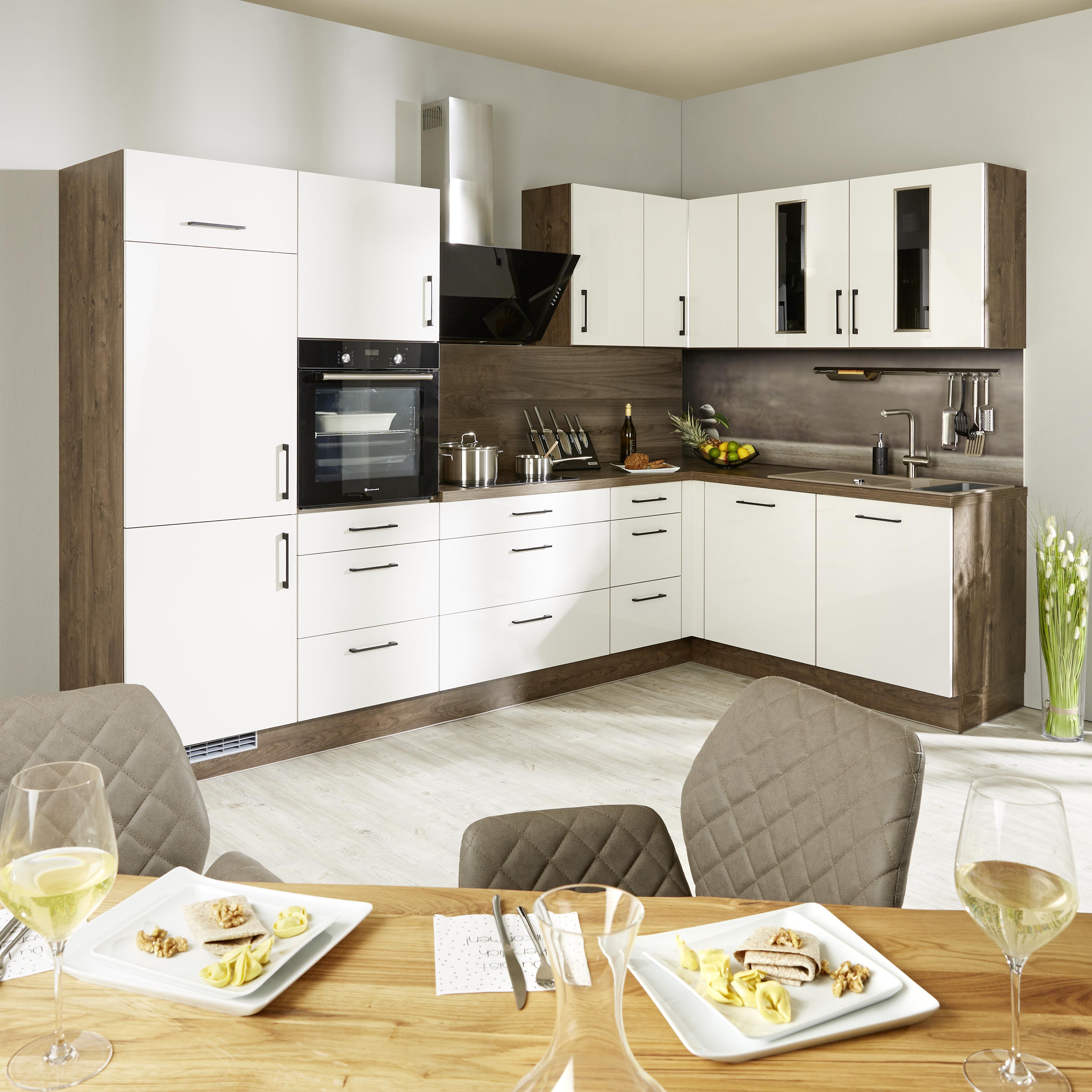 Eckküche Ip3050 Hellgrau/Holz Front