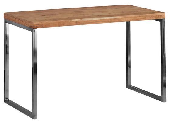 Schreibtisch Guna B: ca. 120 cm - Chromfarben/Akaziefarben, Design, Holz/Metall (120/76/60cm) - Livetastic