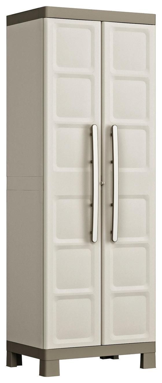 Kunststoffschrank Excellence Cabinet Hoch - Sandfarben/Grau, MODERN, Kunststoff (65/182/45cm) - Keter