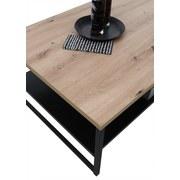 Couchtisch Holz mit Ablagefach Metall Lukas Eiche/Schwarz - Eichefarben/Schwarz, MODERN, Holzwerkstoff/Metall (120/60/40cm) - Livetastic