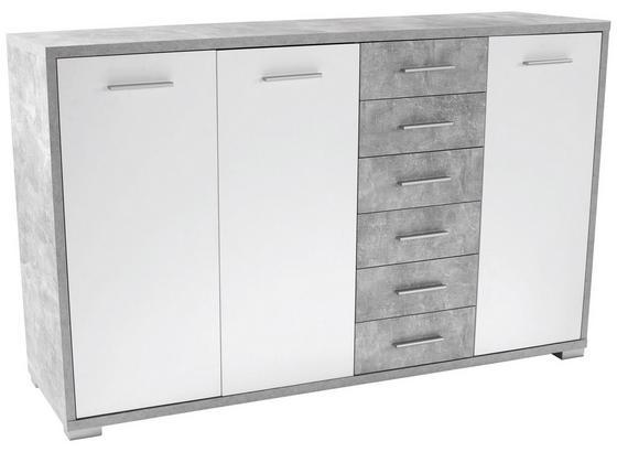 Komoda Q-big New Qbk03 - sivá/biela, Moderný, drevo (190/105/44cm)