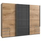 Schwebetürenschrank mit Laden 270cm Valencia, Eiche/Graphit - Eichefarben/Graphitfarben, Basics, Holzwerkstoff (270/210/65cm) - Livetastic