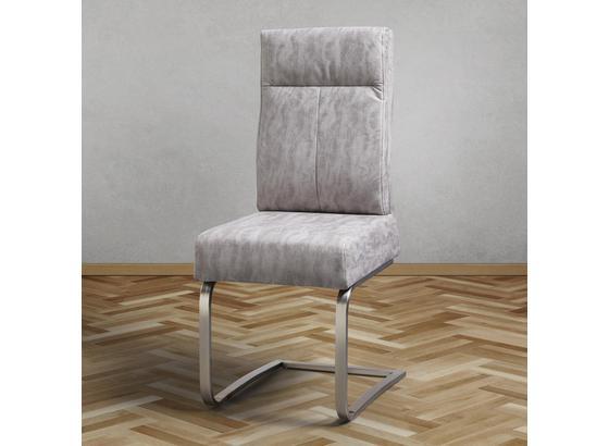 Jedálenská Stolička Tobias - svetlosivá/chrómová, Moderný, kov/textil (44,5/101/55cm) - Modern Living